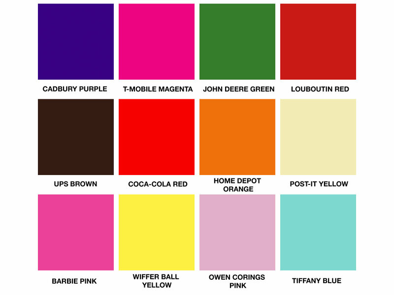 A selection of companies who have trademarked a specific color.