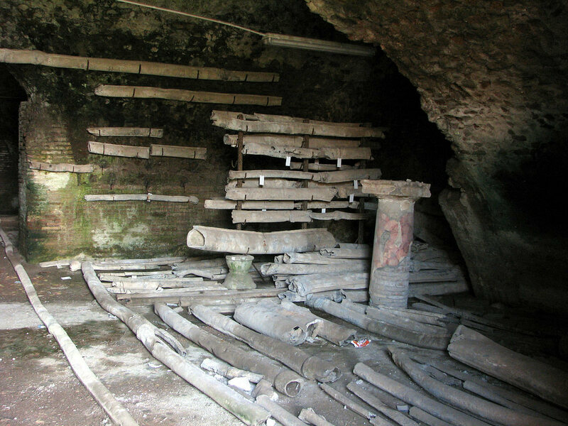 Ancient Roman lead pipes found in Ostia Antica.