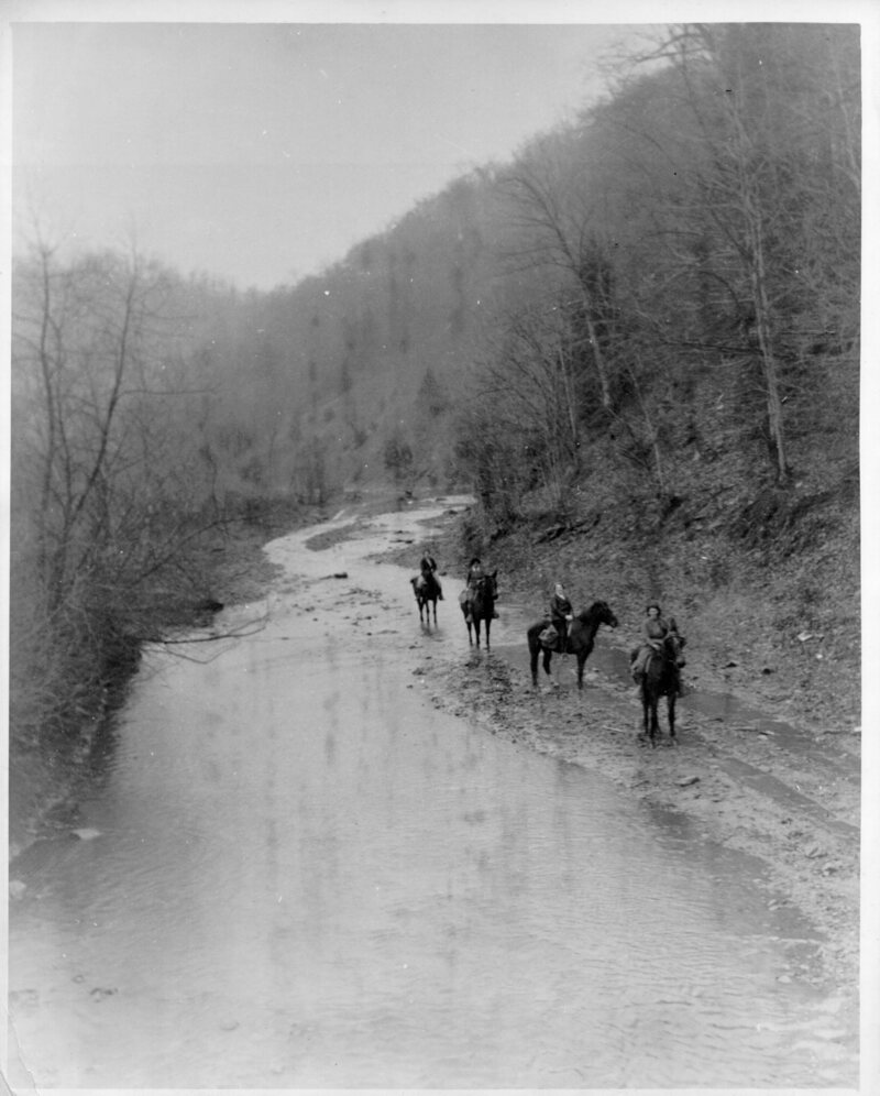 Pack horse librarians start down Greasy Creek to remote homes, date unknown.
