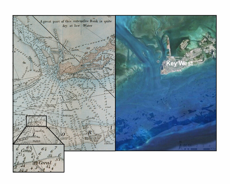 George Gauld's 1774 chart of the Keys (left), and a modern-day coral habitat map (right).