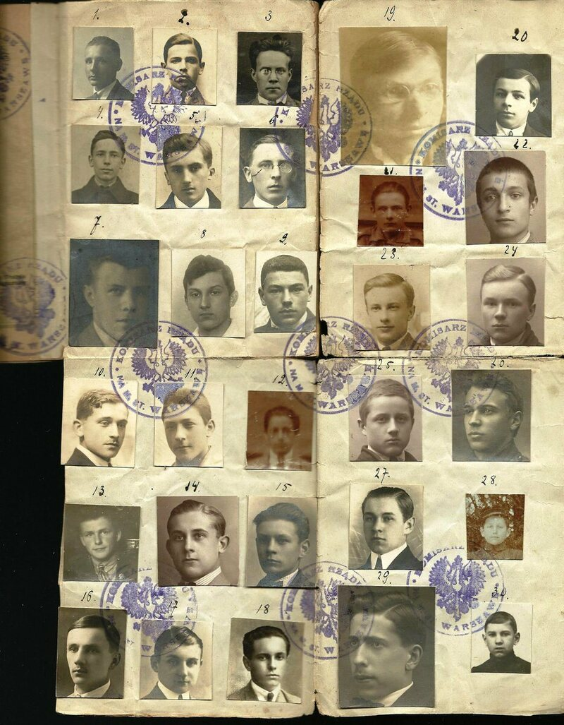 This collective passport was issued to a Polish group in 1923, and featured a total of 30 men, who appear to have been high school students.