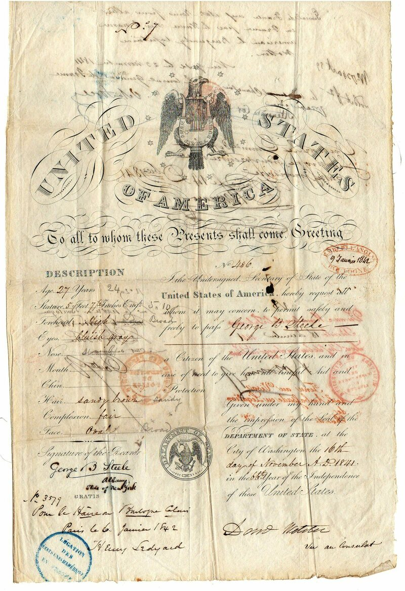 This American travel document from 1841 describes its bearer as having a straight nose, fair complexion, and oval chin.