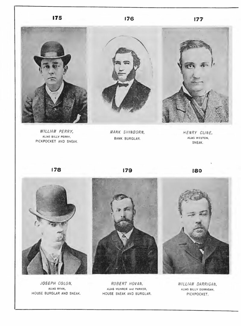 Standardized passport photos were thought to look like these mugshots from <em>Professional Criminals of America</em>, 1886.