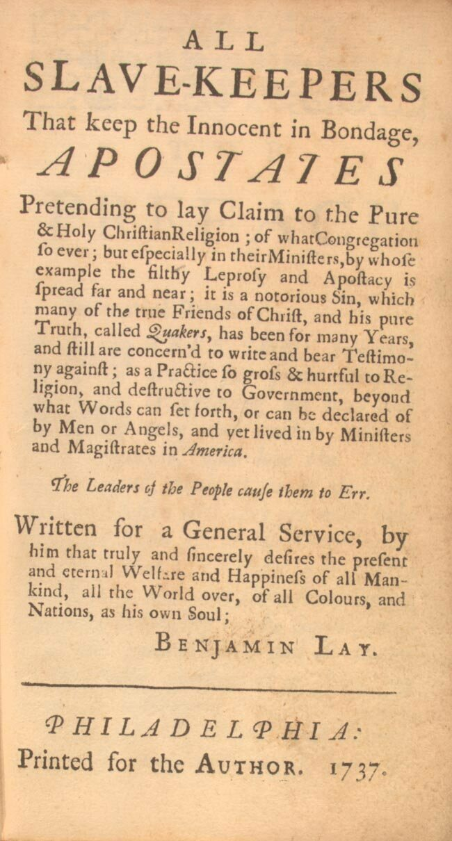 The front page of Lay's 1737 tract omits the name of his publisher, Benjamin Franklin.