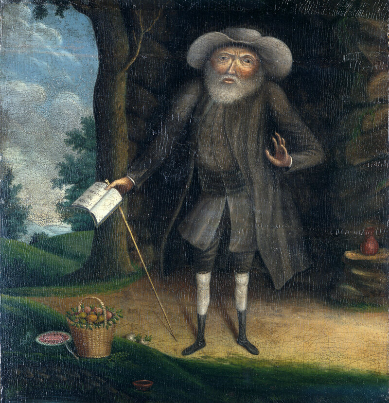 This 1790 portrait of Benjamin Lay, by William Williams and his apprentice, depicts Lay in front of his cave. The basket of vegetables beside him is a hint of his vegetarianism.