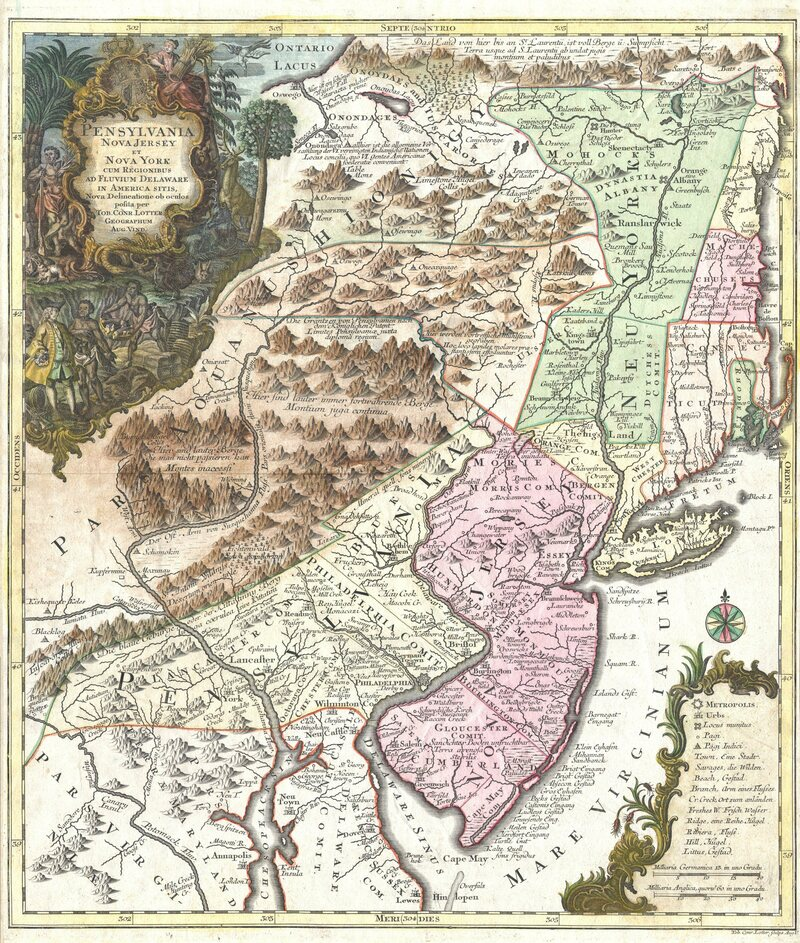 An 18th-century map shows the Northeast in Benjamin Lay's time.