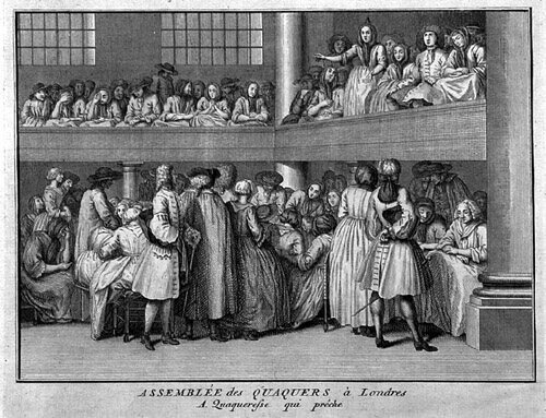An 18th-century engraving shows the ordinary proceedings of Quaker meeting houses. These were often Lay's sites of choice for protest.