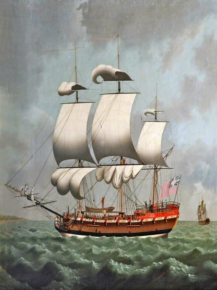 This 18th-century painting, by William Jackson, shows a slave ship of the sort Lay began to hear about on his travels. Hearing about their mistreatment seems to have sown an early abolitionist seed.
