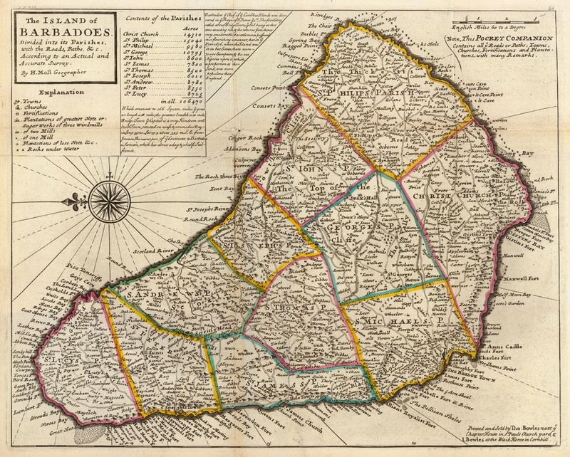 This 17th-century map shows the island of Barbados as Benjamin and Sarah Lay would have known it.