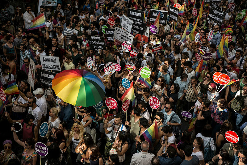 Marchers at the 2014 Gay Pride Parade in Istanbul, Turkey. The pride march was banned in 2016.