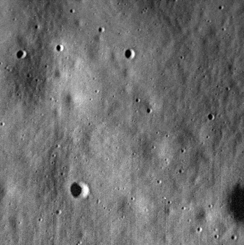 The last image NASA received from <em>MESSENGER</em> before it crashed into Mercury's surface in 2015.