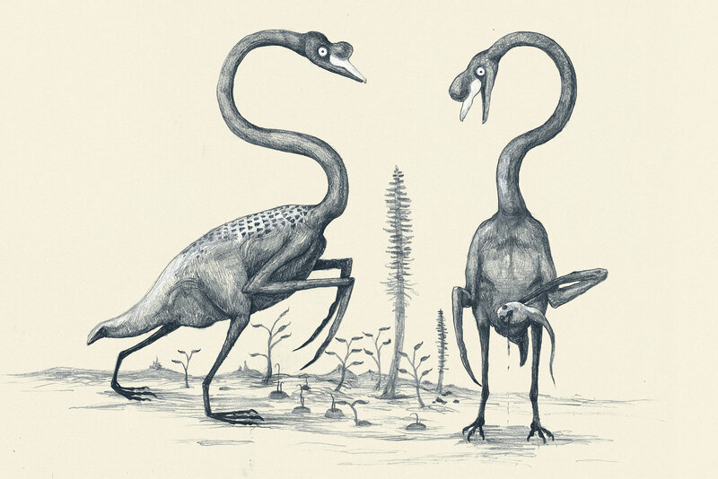 Swans imagined as though they were featherless dinosaurs.