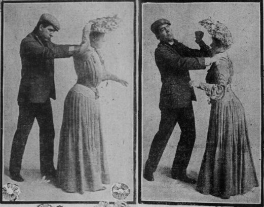 This 1904 image, from the <em>San Francisco Sunday Call</em>, shows how women fought back when mashers approached.