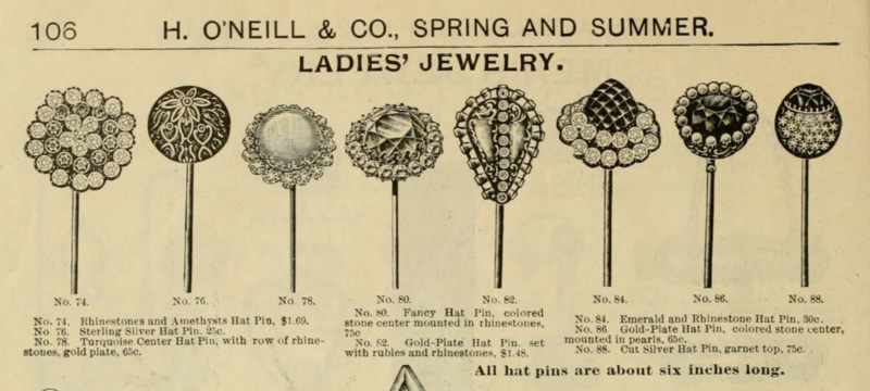 Six-inch hatpins for sale in an 1898 New York clothing catalog.
