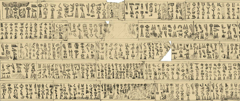 Copy of the Luwian hieroglyphic inscription about the king of Mira, thought to have been composed around 1180 B.C. Read more at: https://phys.org/news/2017-10-luwian-hieroglyphic-inscription-bronze-age.html#jCp