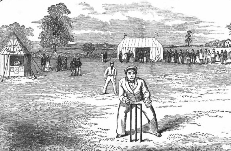 An illustration of the pitch, from <em>The English Cricketers' Trip to Canada and the United States</em>, 1860.