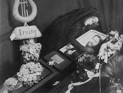 Washington Irving Bishop in his coffin