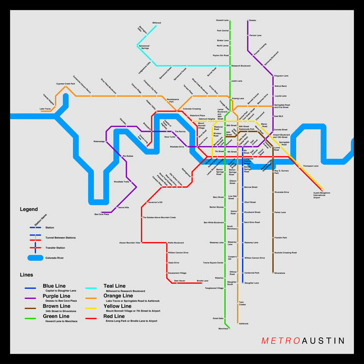 Imaginary Austin Transit Map Created By Ivan Specht