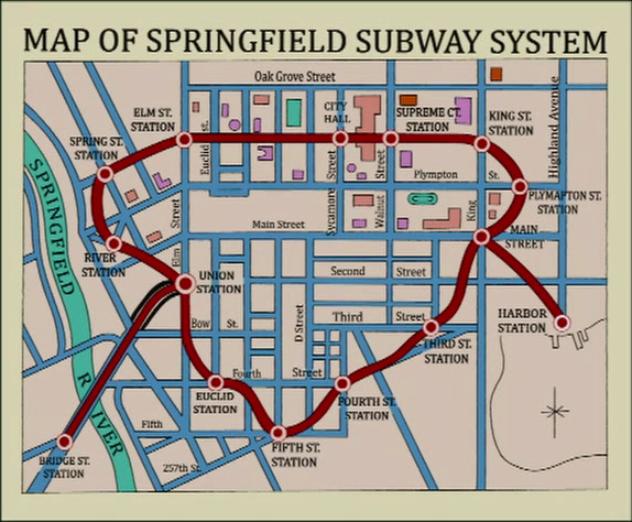 Everything We Know About Springfield Mapped Atlas Obscura - Simpons us map vs real voters map