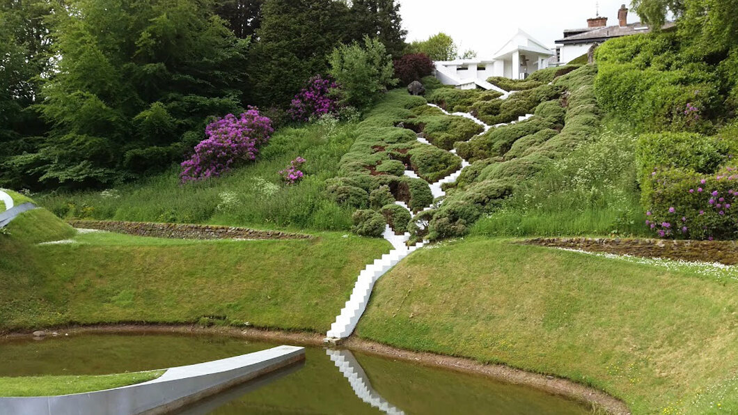 The Garden of Cosmic Speculation: The white steps scissoring down from Portrack House represent the cascading universe.