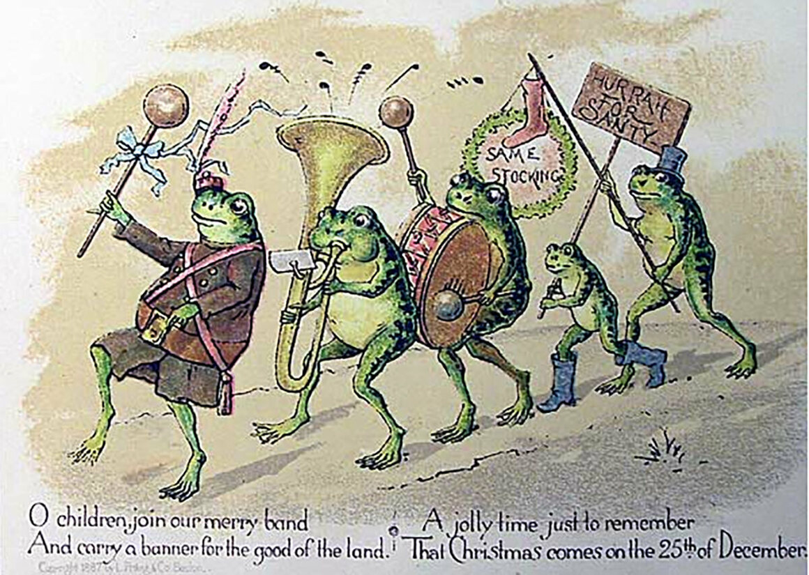 a christmas card design by louis prang with a parade of musical frogs photo public domainwikicommons