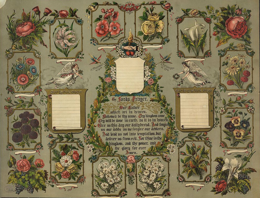 """A 19th century family tree, with spaces for """"loved ones"""" and """"departed ones""""."""
