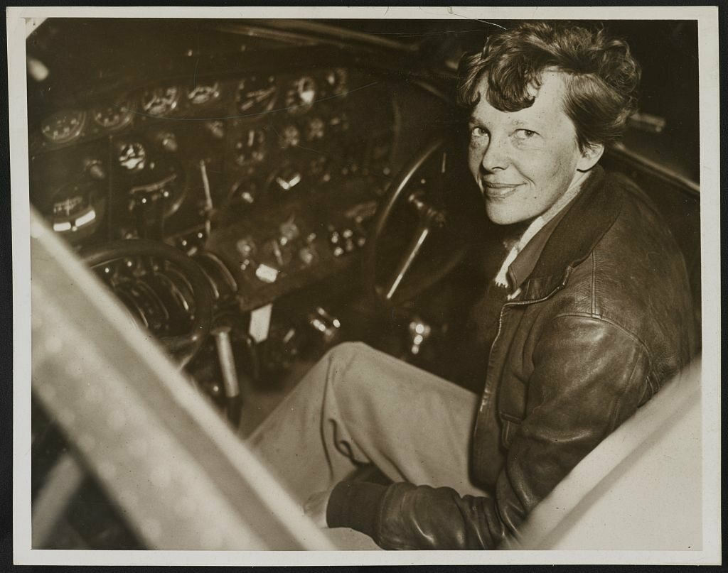 Earhart in the cockpit of an Electra airplane.