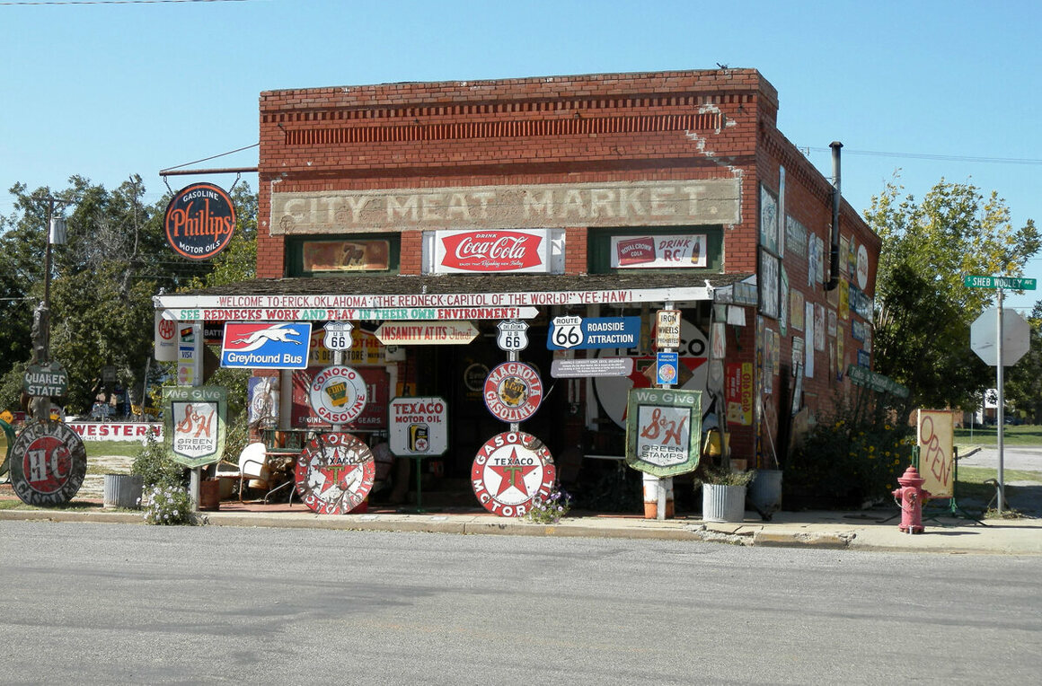 The Sandhills Curiosity Shop in Oklahoma, crammed with vintage signs.