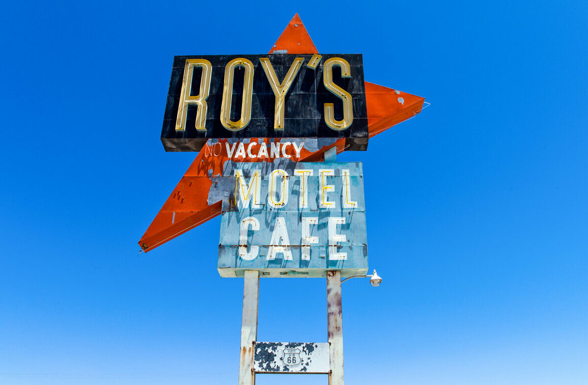 The sign for Roy's Motel and Cafe in Amboy, California.