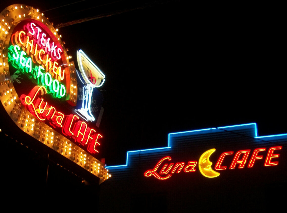The neon sign for the Luna Cafe in Mitchell, Illinois, which first opened in 1932. The sign was restored in 2012.