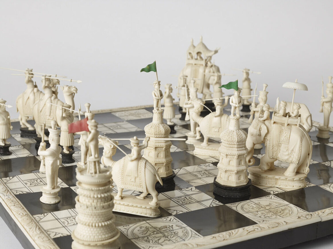 A John Company—the informal name for the East India Company—chess set, made in India c. 1830.