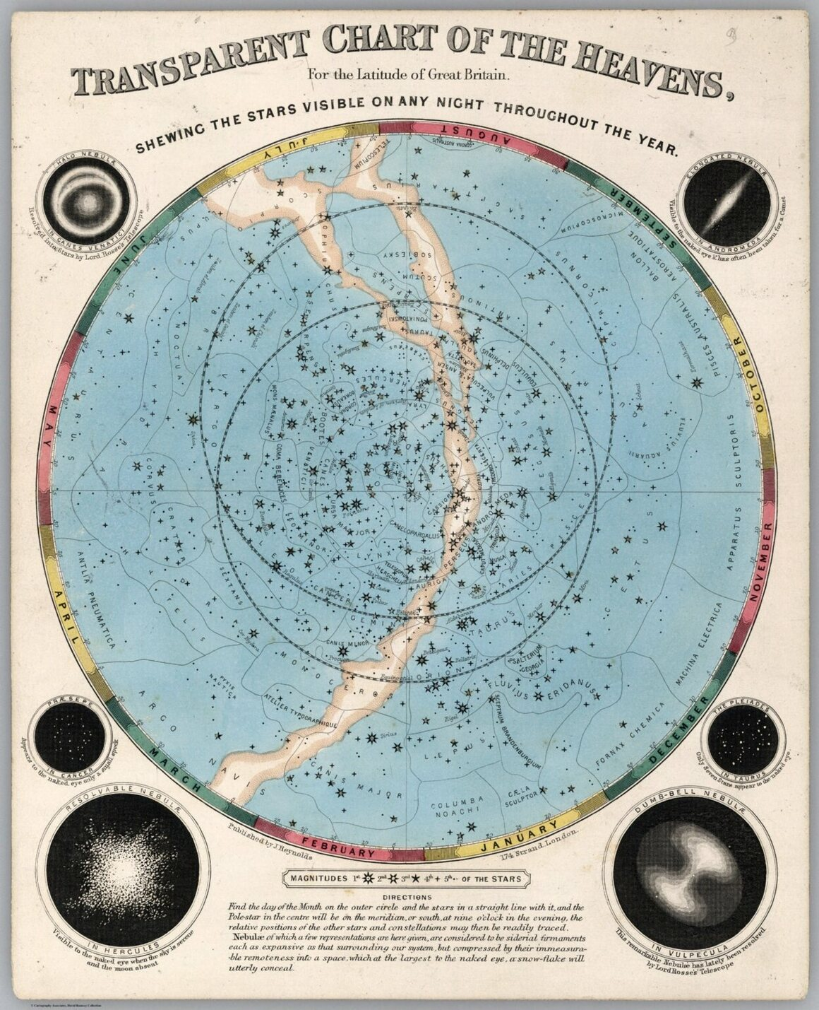 <em>Transparent chart of Heavens for latitude of Great Britain.</em> Published in the 1851 <em>Astronomical Diagrams</em>.