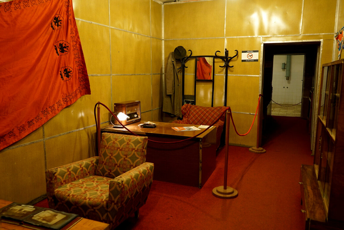 Enver Hoxha's office with original furniture—the former president's voice plays on a loop, and even on the phone receiver if you pick it up.