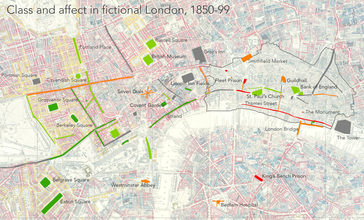 "Class and affect in fictional London: red indicates fear, green indicates happiness. On the 1899 map, gold indicates upper-middle and upper classes, red and pink are middle classes, blues are low-income areas and black the ""lowest class."""