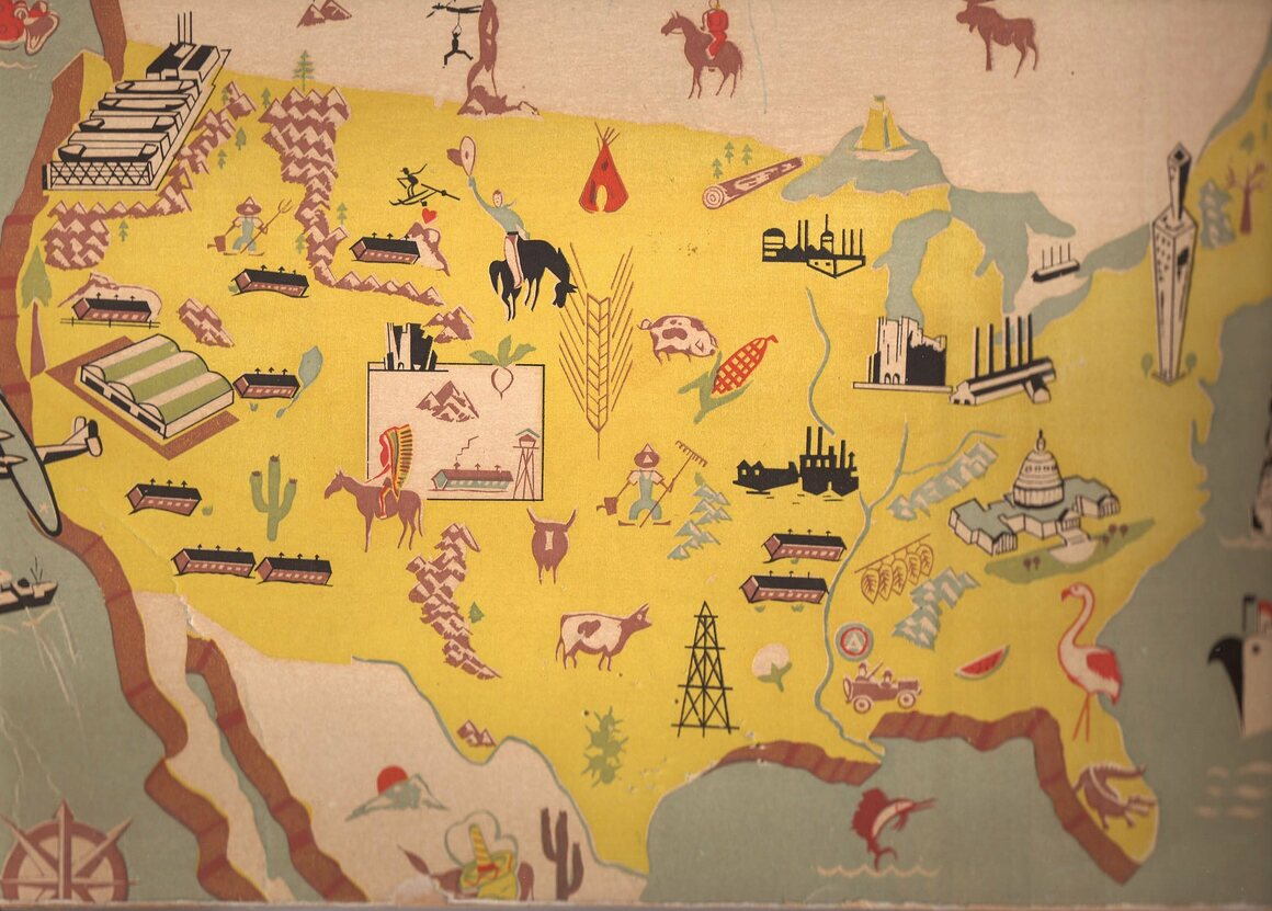 A map of internment camps around the country, designed and printed at the Silk Screen Shop.