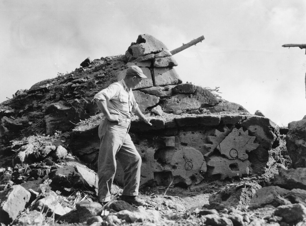 Japan's advanced decoy techniques are well-illustrated by this view of a dummy tank found on Iwo Jima. It was constructed out of consolidated volcanic ash, which is soft and can easily be cut with a knife.