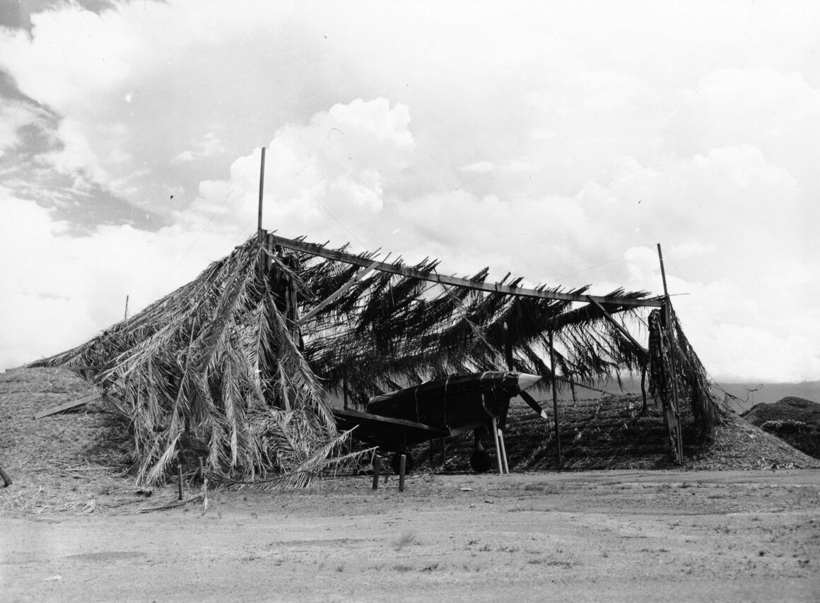 This dummy plane stood beneath a shelter at Camp Chorrera in Panama. Taken in 1942.