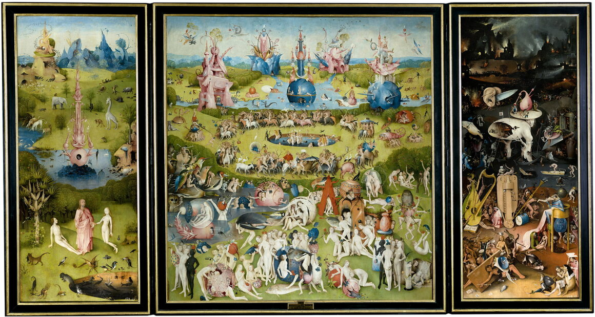 "Hieronymus Bosch's ""The Garden of Earthly Delights,"" 1503–1515."