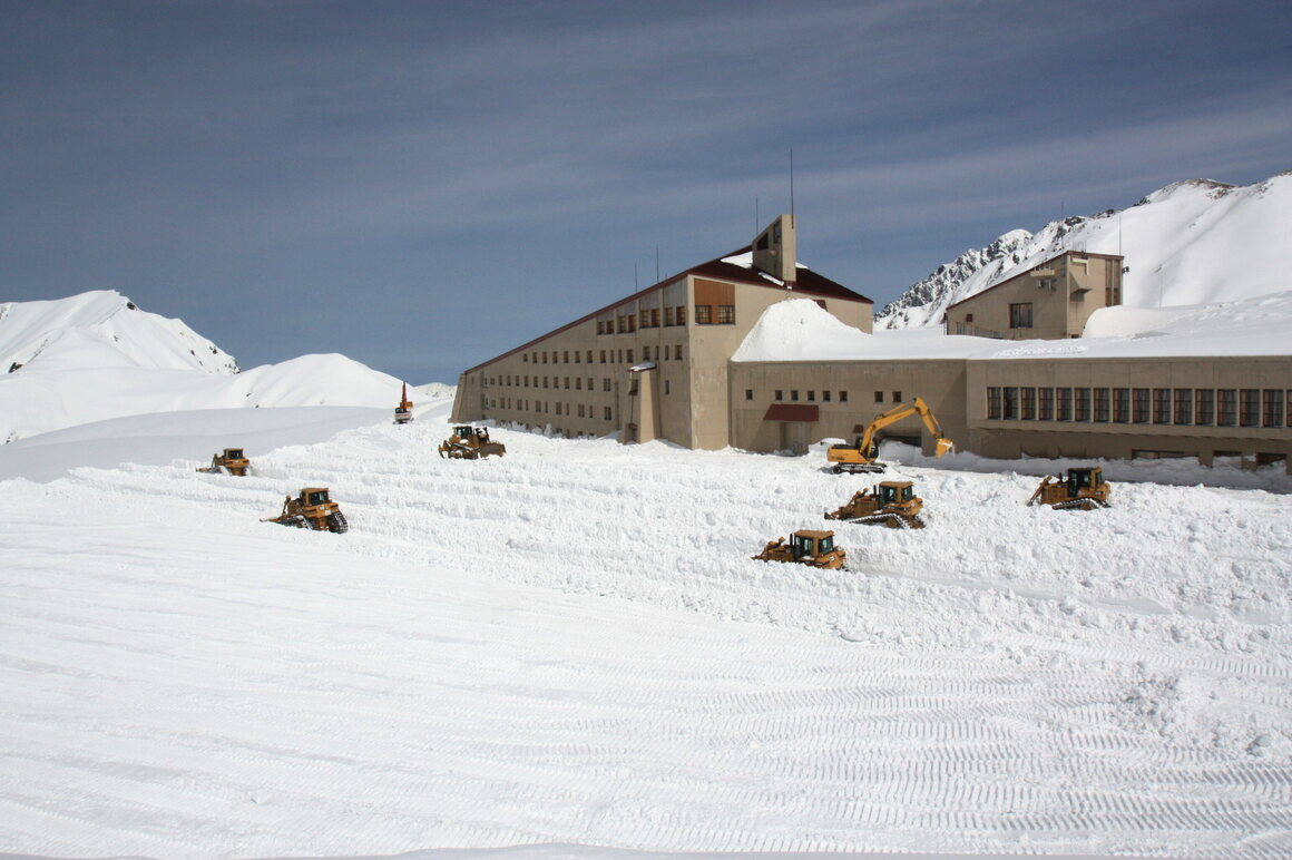 A fleet of Tateyama bulldozers at work.