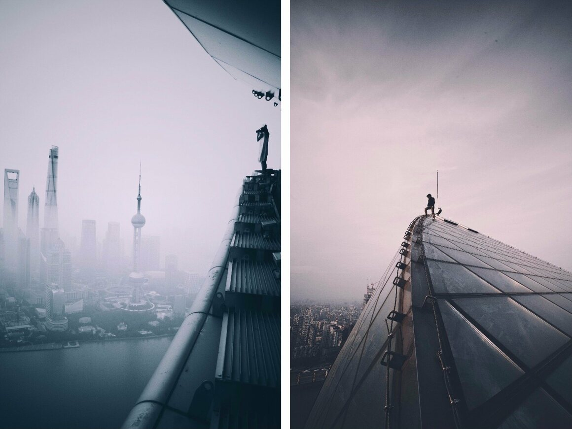 Cocoanext's photo shows the Huangpu river beneath a misty Pudong skyline (left) and a rooftopper on the apex of a vast paneled roof (right).