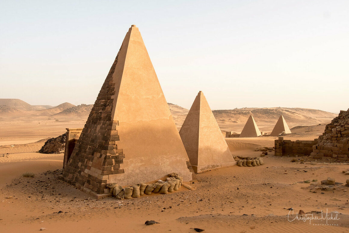 The steep, smaller Nubian pyramids differ significantly from their Egyptian counterparts.