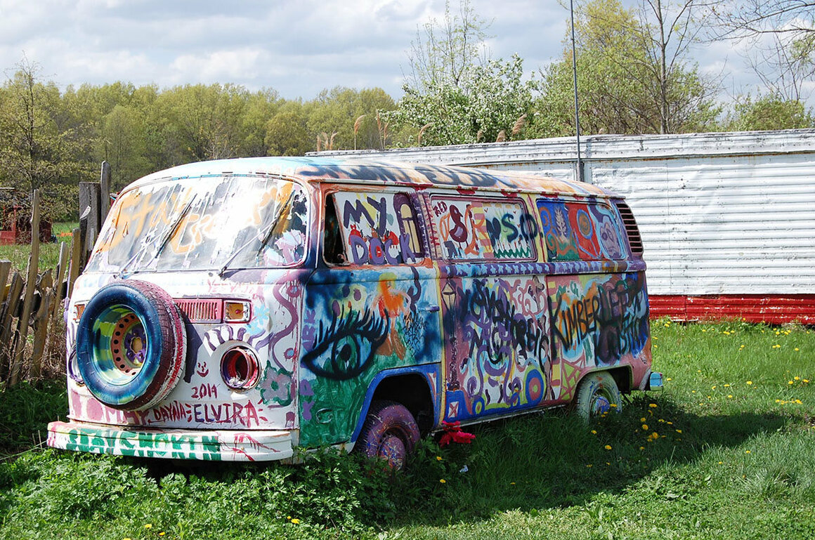 This VW van was decorated at a painting party where Wild Bill supplied the paint and guests did the rest.
