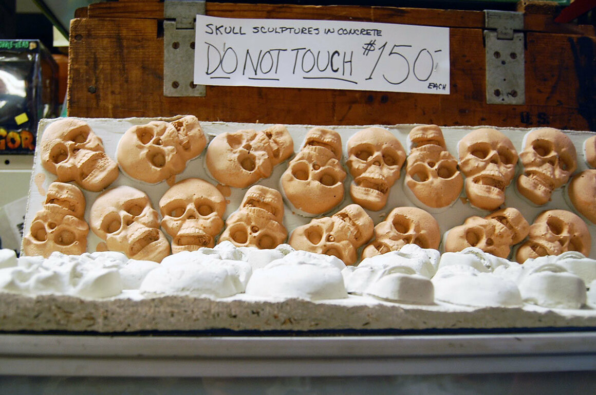 Some of Joe McCarthy's skull sculptures, for sale in the shop.