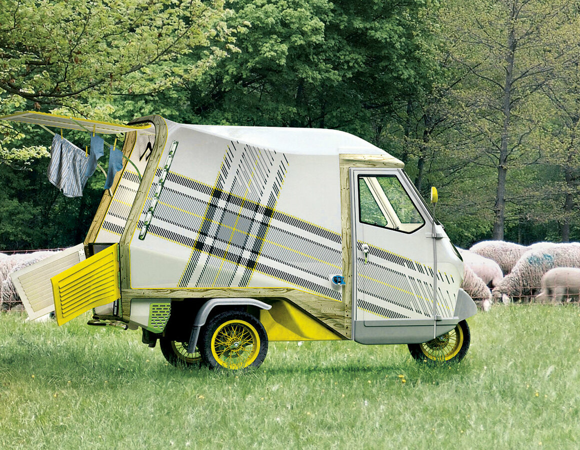 Bufalino, a pint-sized, three-wheeled camper, holds a bed, fridge, storage and enough space to sit and cook. (Cornelius Comanns, Germany, 2010)