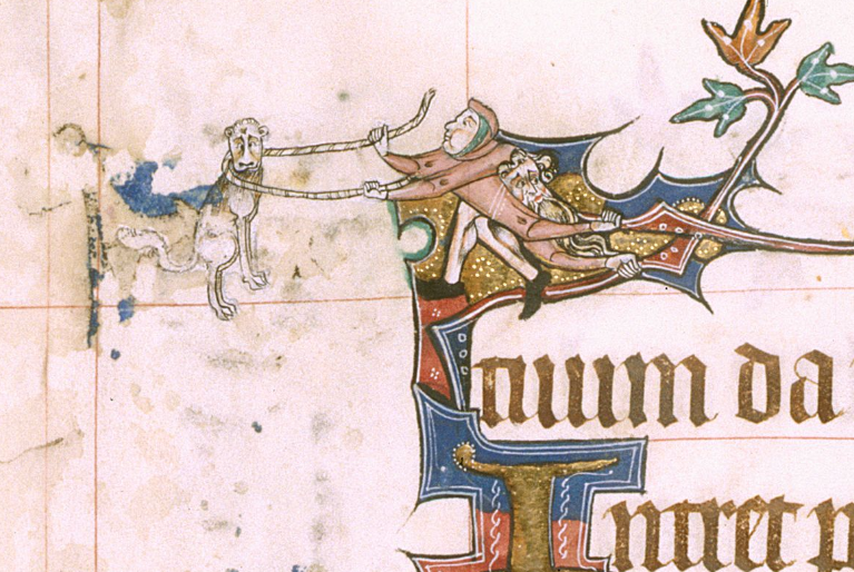 A sad-looking dog being roped by a four-armed, two-headed creature.