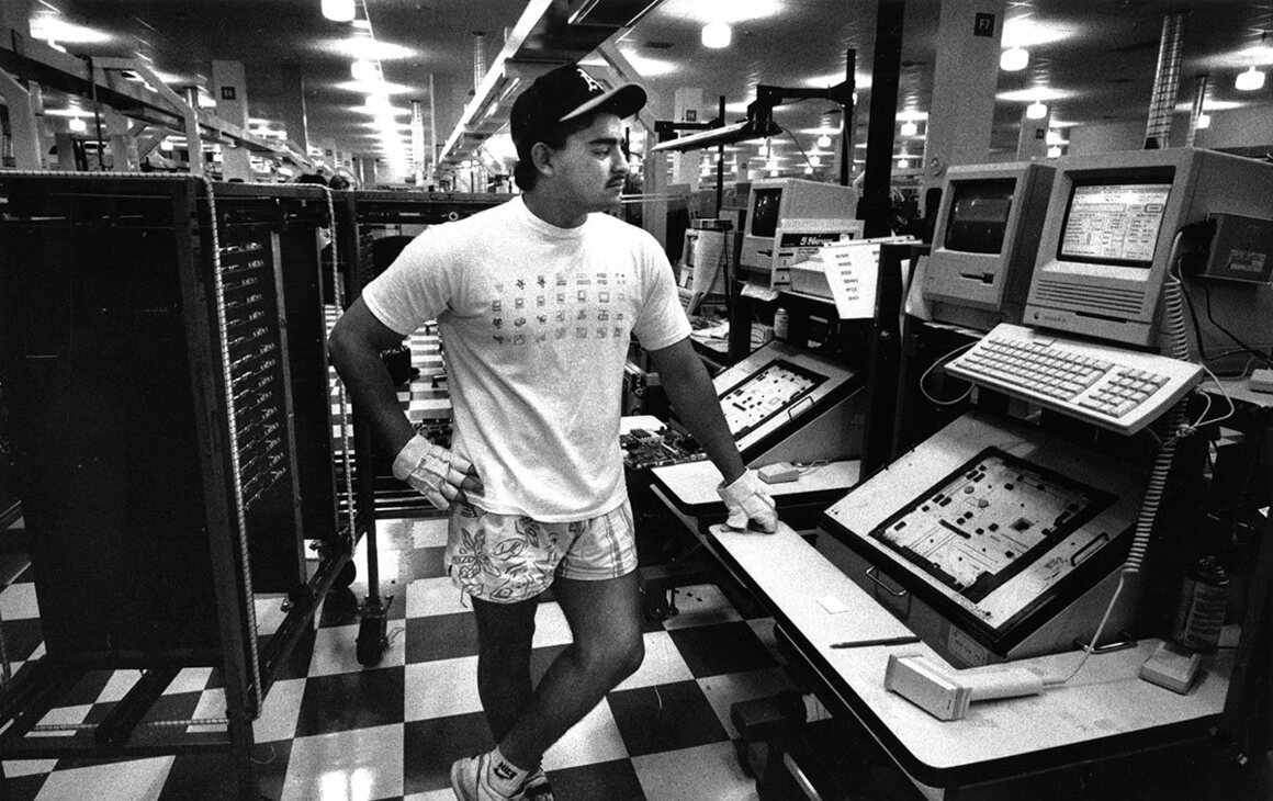 May 29, 1990: Luis Morales works at an Apple manufacturing facility in Milpitas.