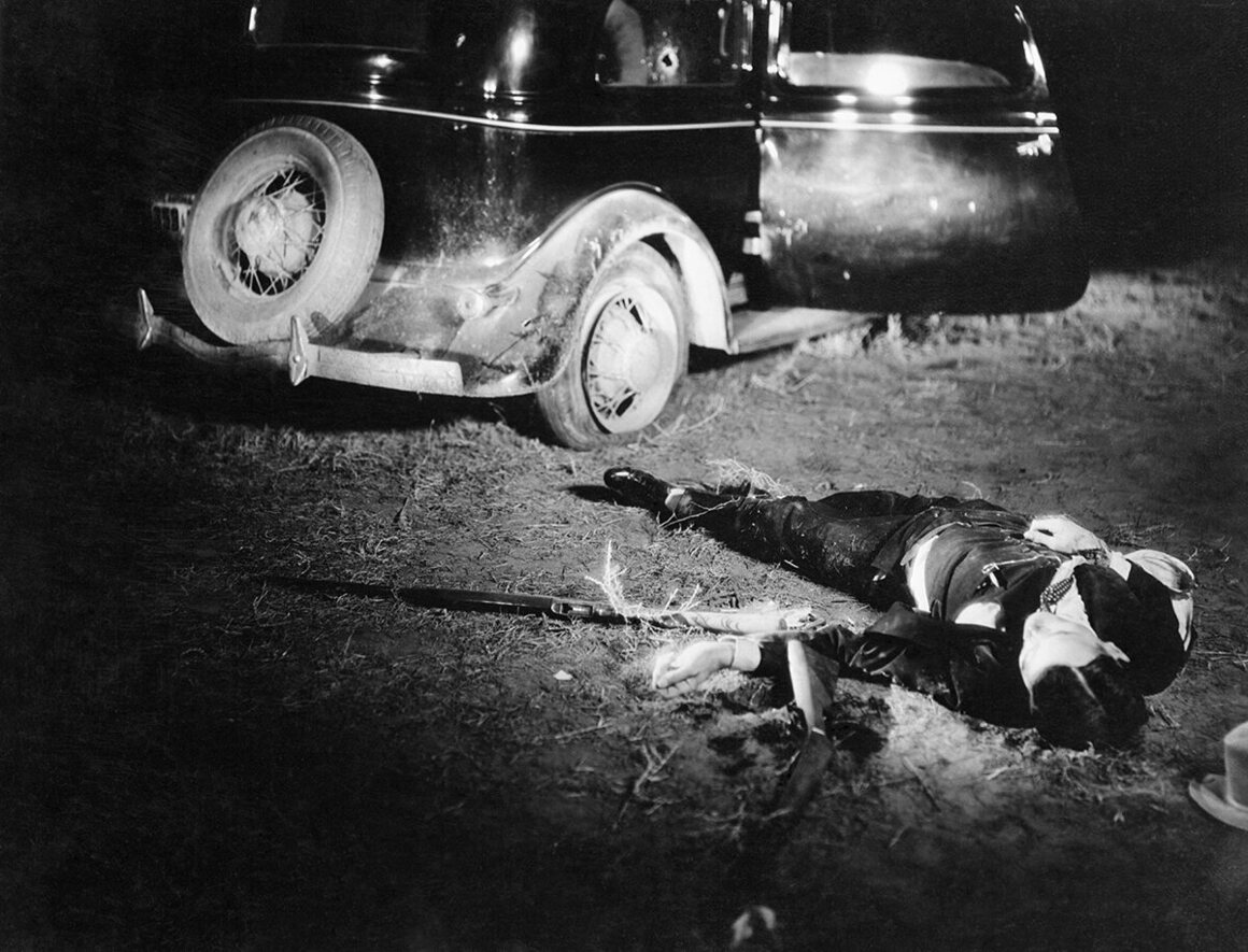 Crime scene photograph of Blackie Thompson, after he was gunned down.
