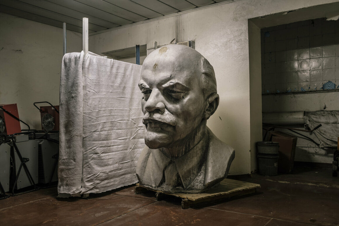 This Lenin head, more than six feet tall, once stood at Chernobyl Nuclear Power Plant. It's now stored in a room used by the cleaning staff. Despite authorities' claims of contamination, no significant levels of radiation were found. October 2016.
