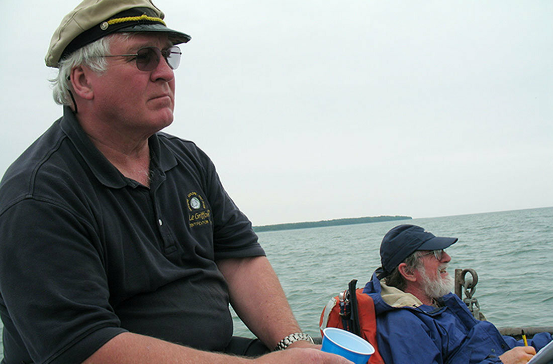 Steve Libert, pictured in 2011, with project leader Ken Vrana from the Center for Maritime & Underwater Resource Management on location near Poverty Island.