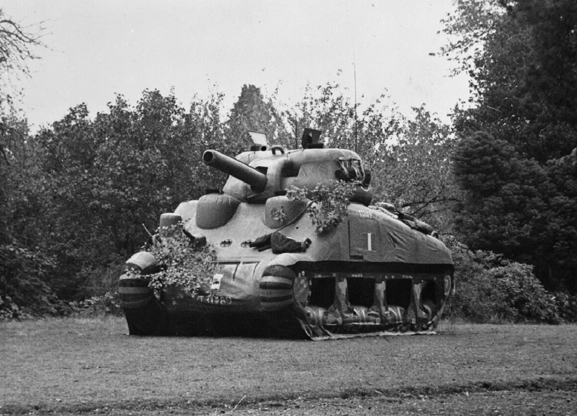 An inflatable Sherman tank, one of many dummy vehicles made to deceive the enemy.